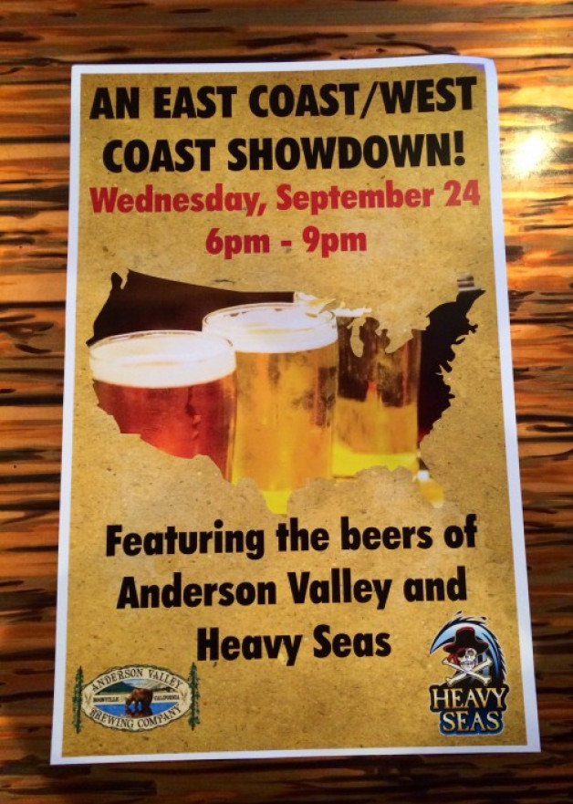 East Coast / West Coast Tap Takeover @ Blue Moon Beach Grill this upcoming Wednesday September 24th!